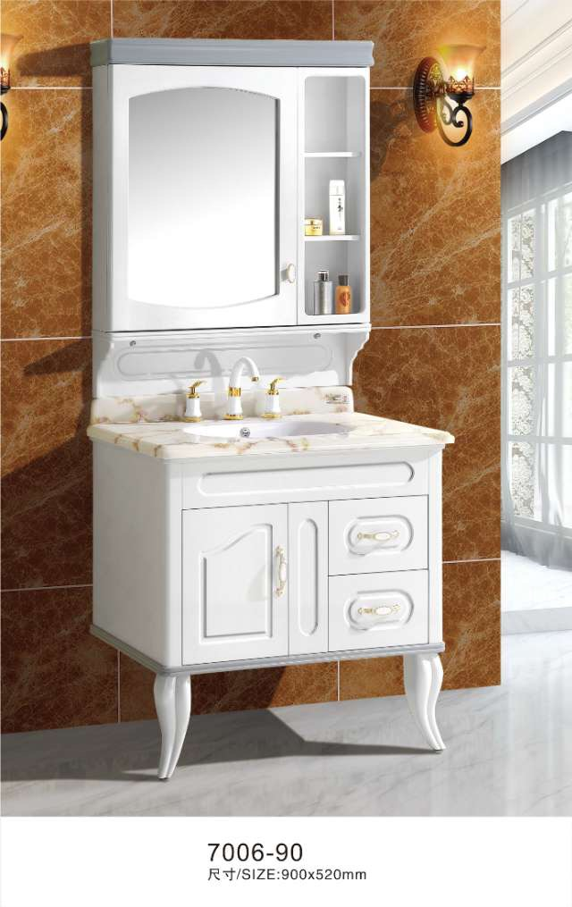 90cm white bathroom vanity cabinet with mirror cabinet