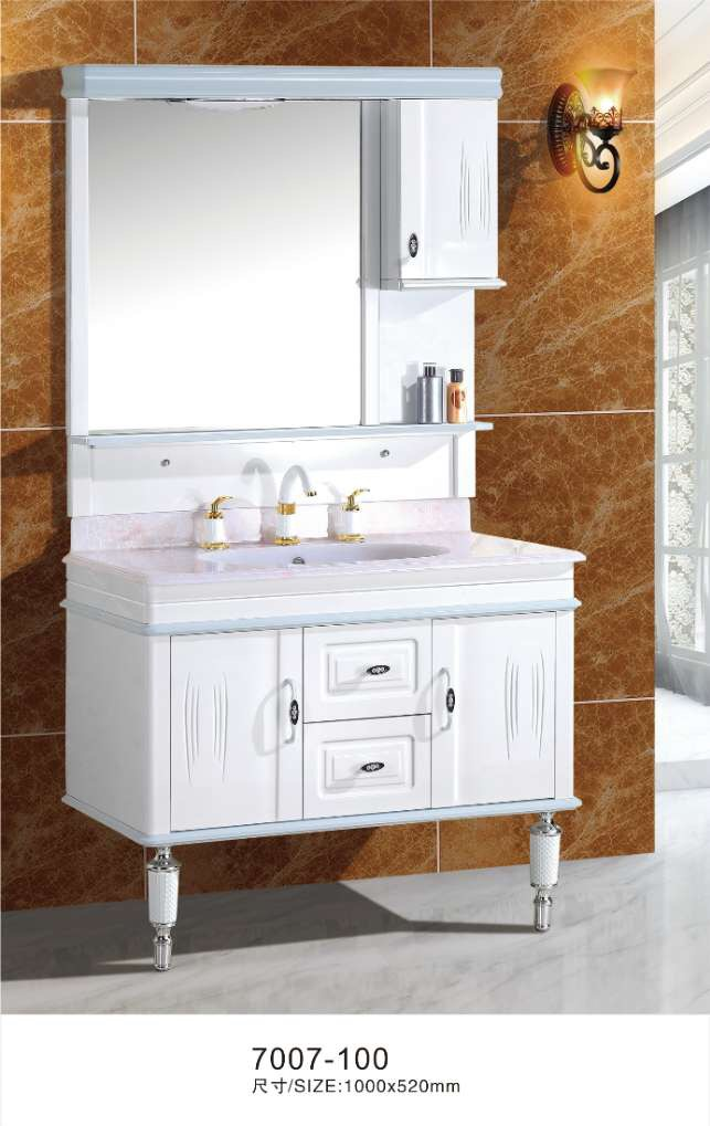 100cm white bathroom vanity cabinet with mirror side cabinet