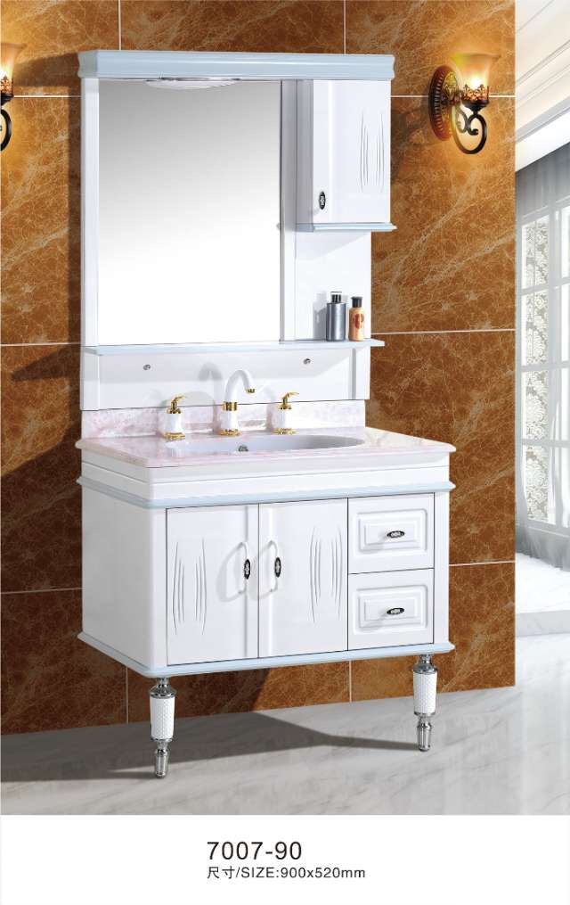 90cm white bathroom vanity cabinet with mirror side cabinet