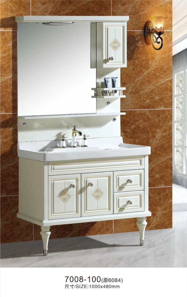 100cm pvc bathroom cabinet with mirror cabinet lamp