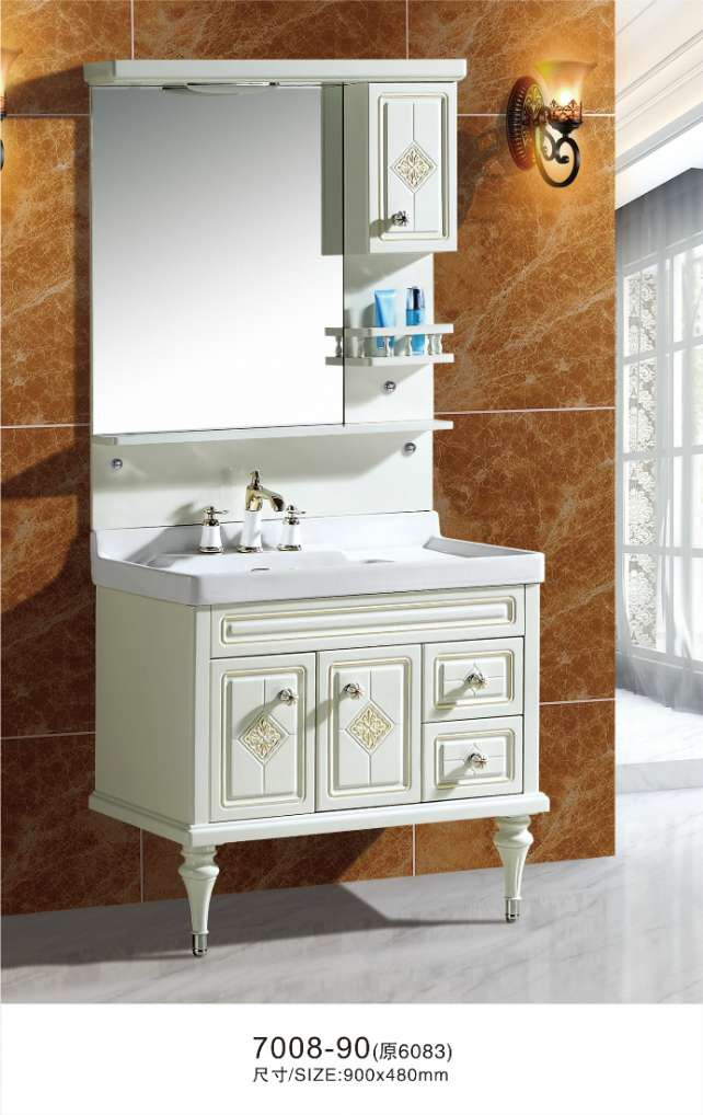 floor stand bathroom cabinet with mirror cabinet lamp